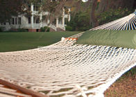 Lightweight Bright White Soft Spun Polyester Rope Hammock W Stand For Family Leisure Time