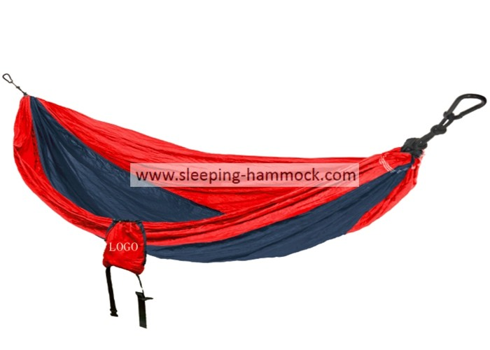 Outdoor Travel Double Parachute Nylon Hammock Double With Hanging Loop Straps Red Navy