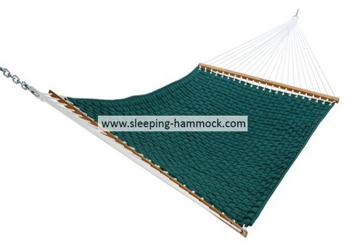 Outdoor Solution Dyed All Weather Soft Weave Hammock Comfort  With Green Solid Woodbar