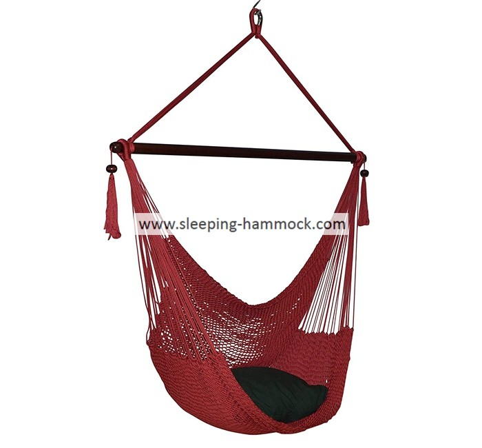 Red Folding Jumbo Deluxe Hanging Hammock Rope Chair For Two Outside Indoor Outdoor