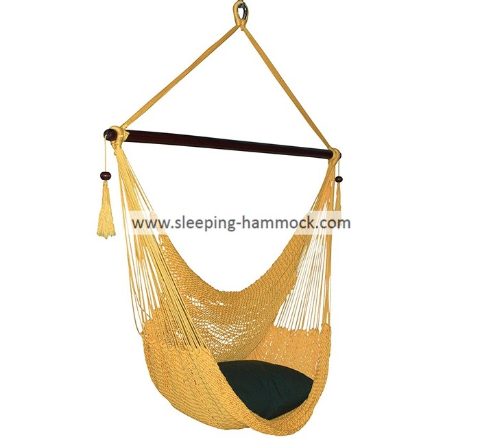 Yellow Outdoor Comfortable Caribbean Hammock Chair , Rope Swing Hammock Chair Fade Resistant
