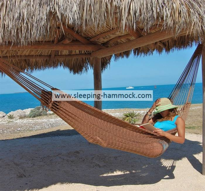 Double Size Lightweight Polyester Rope Mayan Hammock Bed Comfortable Hanging Mocha 128 Inches\