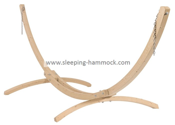 12 Foot Solid Single Wooden Curved Arc Hammock With Hooks Chains Two Person Free Standing